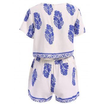 Stylish Round Collar Short Sleeve Crop Top and Elastic Waist Printed Shorts Twinset For Women - L L