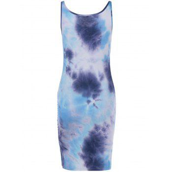 Fashionable Lace-Up U-Neck Tie-Dyed Sleeveless Dress For Women - COLORMIX M