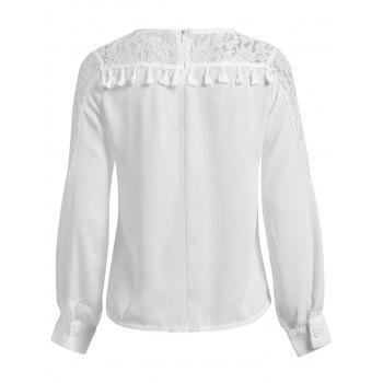 Stylish Round Neck Chiffon Spliced Lace Long Sleeve Women's Blouse - WHITE XL