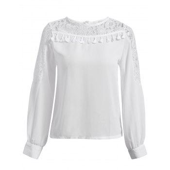 Stylish Round Neck Chiffon Spliced Lace Long Sleeve Women's Blouse