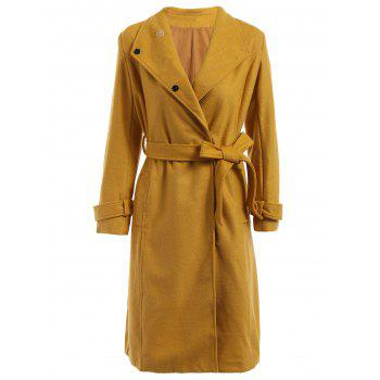 Elegant Women's Turn-Down Collar Long Sleeve Worsted Coat