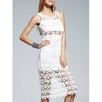 Lace Crochet See Through Midi Dress
