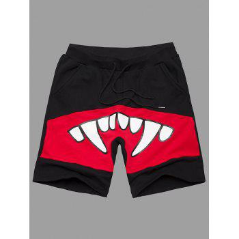 Teeth Print Plus Size Lace-Up Men's Shorts
