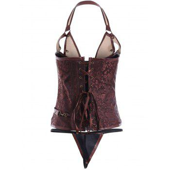 Punk Style Metal Design Faux Leather Corset - 2XL 2XL
