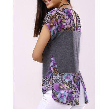 Buy Fashionable Women's Round Collar Short Sleeve Printed Back Hollow Splicing T-shirt DEEP GRAY