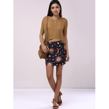 Fashionable Women's Moon Print Bodycon Mini Skirt - BLACK L
