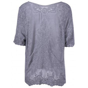 Stylish Women's Scoop Neck Crochet Short Sleeves Blouse - DEEP GRAY DEEP GRAY