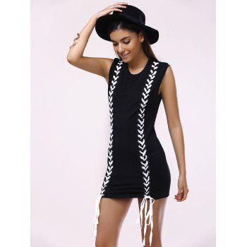 Brief Women's Round Collar Lace-Up Sleeveless Dress - BLACK L