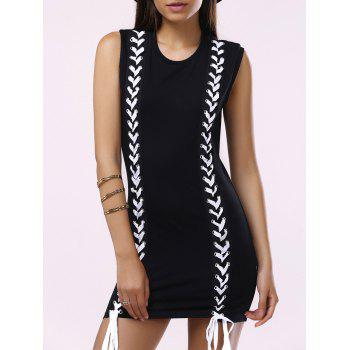 Brief Women's Round Collar Lace-Up Sleeveless Dress