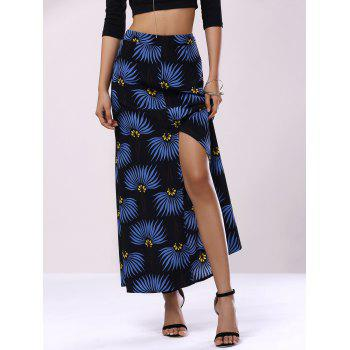 Trendy Flower Print High Waist Front Slit Skirt For Women