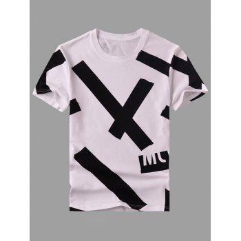 Men's Round Neck Stripes Printed Short Sleeve T-Shirt