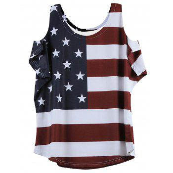 Cold Shoulder Short Sleeve Flag Pattern T-Shirt