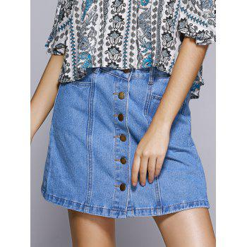 Sweet Denim A-line Button Through Mini Skirt For Women