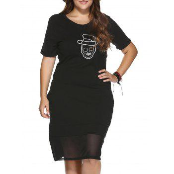 Trendy Plus Size See-Through Skull Pattern Sheath Dress