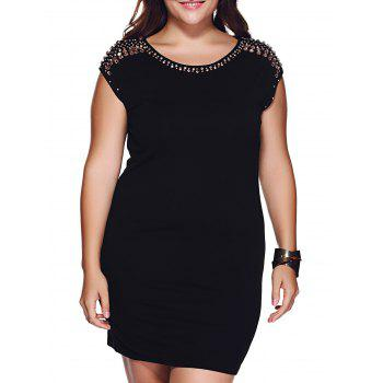 Brief Plus Size Rhinestoned Embellished Black Sheath Dress