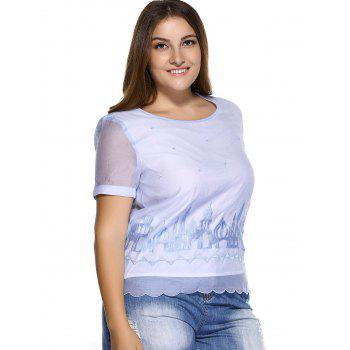 Sweet Plus Size Castle Pattern Embroidered Organza Blouse - LIGHT BLUE L