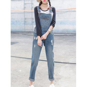Slimming Pocket Design Strap Denim Ninth Ripped Jumpsuit
