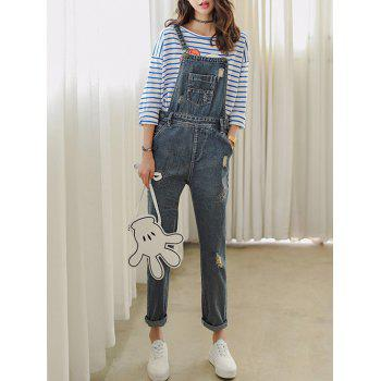 Slimming Strap Denim Ninth Ripped Jumpsuit