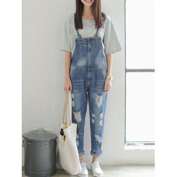 Strap Hole Design Denim Ninth Jumpsuit