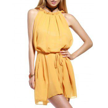 Chic Frill Collar Sleeveless Pleated Women's Dress