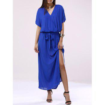 Elegant Women's V-Neck 3/4 Sleeve Chiffon Dress