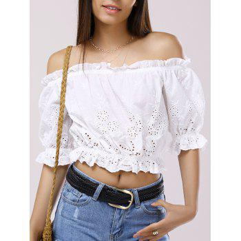 Off-The-Shoulder 3/4 Sleeve Crop Top