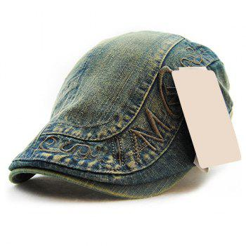 Buy Stylish Letter Embroidery Old Denim Fabric Cabbie Hat Men BLUE