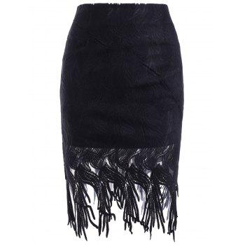 Stylish Fringed Skinny Solid Color Women's Skirt