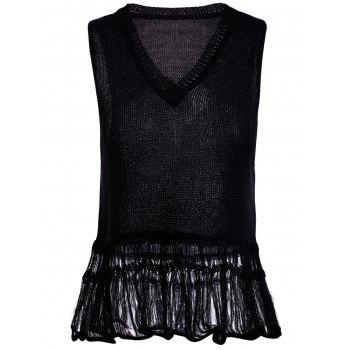 V Neck Fringed Black Knitted Tank Top