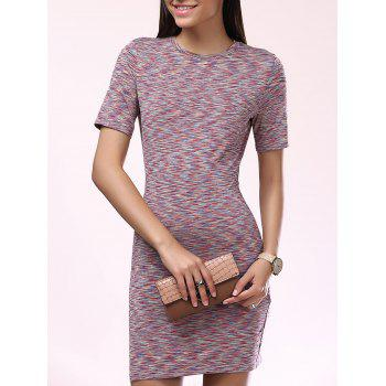 Fashionable Scoop Neck Slim Short Sleeves Dress For Women