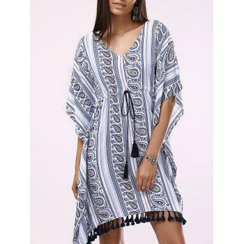 Fashionable Woman's Batwing V-Neck Drawstring Printing Dress