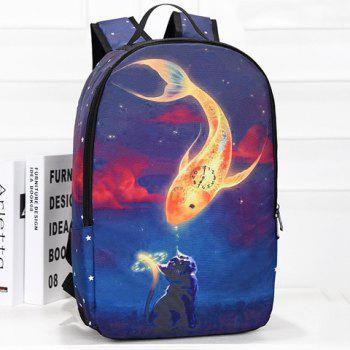 Fashionable Color Splicing and Animal Print Design Women's Backpack - BLUE