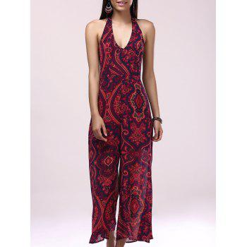 Casual Backless Printing Halter Bohemian Jumpsuit For Women