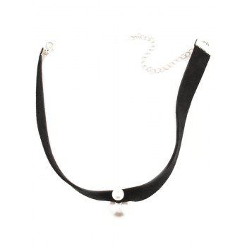 Fake Pearl Chokers Necklace - BLACK
