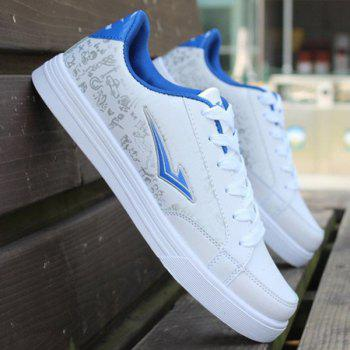 Trendy Lace-Up and PU Leather Design Men's Athletic Shoes - BLUE/WHITE 43