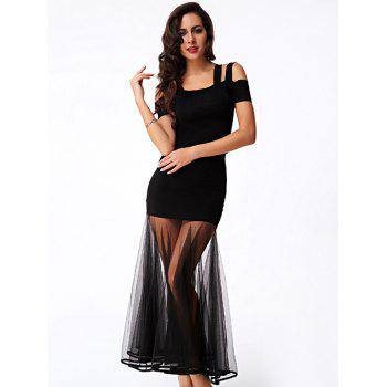 Trendy Women's Cold Shoulder Top and Mesh Skirt Set - BLACK BLACK