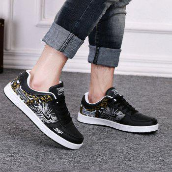 Trendy Print and Lace-Up Design Men's Athletic Shoes