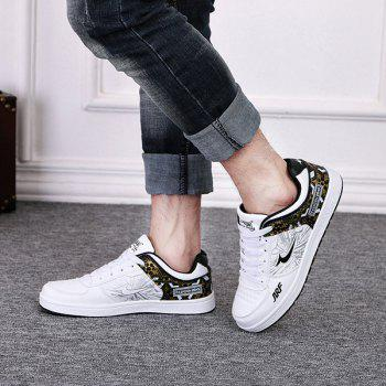 Trendy Print and Lace-Up Design Men's Athletic Shoes - WHITE 40