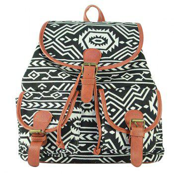 Trendy Printed and Double Pocket Design Women's Satchel