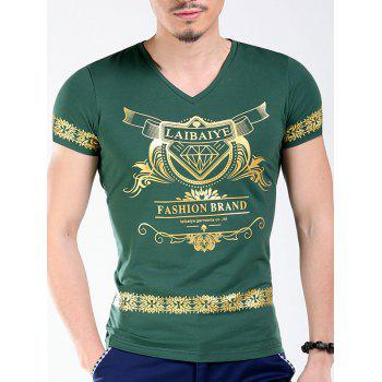 Slimming V-Neck Golden Letters Floral Printing Men's Short Sleeves T-Shirt