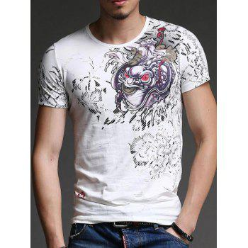 Trendy Round Neck Abstract Printing Slimming Men's Short Sleeves T-Shirt