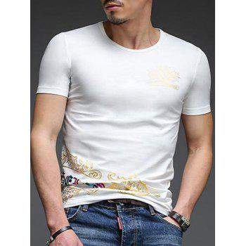 Abstract Golden Printing Slimming Men's Round Neck Short Sleeves T-Shirt