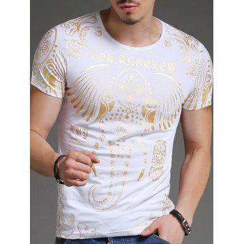 Golden Elephant Printing Slimming Men's Round Neck Short Sleeves T-Shirt