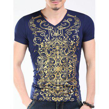 Trendy V-Neck Golden Printing Slimming Men's Short Sleeves T-Shirt