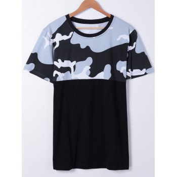 Fashionable Men's Short Sleeves Round Neck Splice Camo Printing T-Shirt