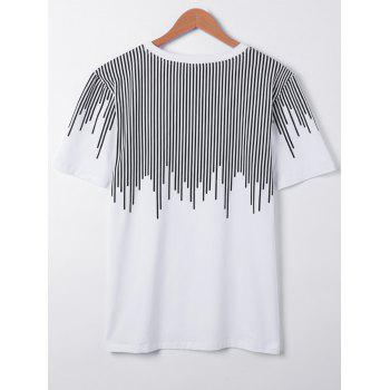 Casual Round Collar Asymmetric Stripe Printing Short Sleeves T-Shirt For Men