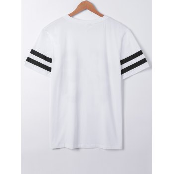 Fashionable Number Print Short Sleeves T-Shirt - WHITE S