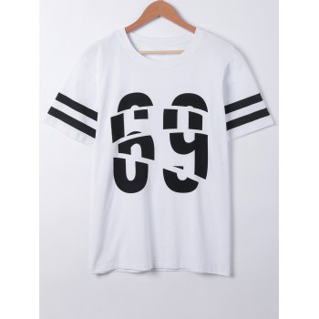 Fashionable Number Print Short Sleeves T-Shirt