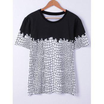 Stylish Round Neck Net Structure Printing Short Sleeves T-Shirt For Men