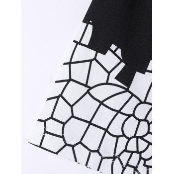 Stylish Round Neck Net Structure Printing Short Sleeves T-Shirt For Men - BLACK S